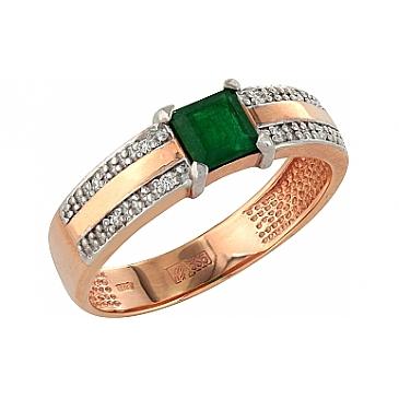Кольцо с бриллиантом и изумрудом из красного золота 84848
