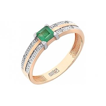 Кольцо с бриллиантом и изумрудом из красного золота 77450