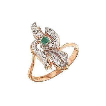 Кольцо с изумрудом и фианитом из красного золота 4220