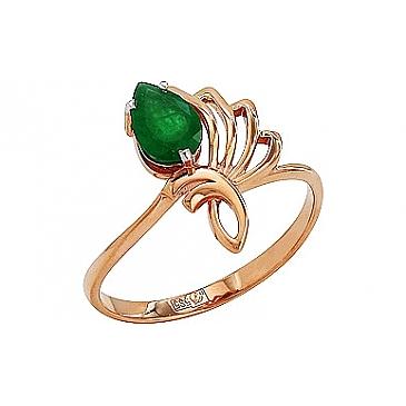 Кольцо с изумрудом из красного золота 78543