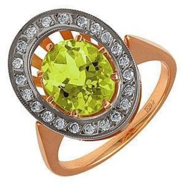 кольцо c кварцем из красного золота 12991576