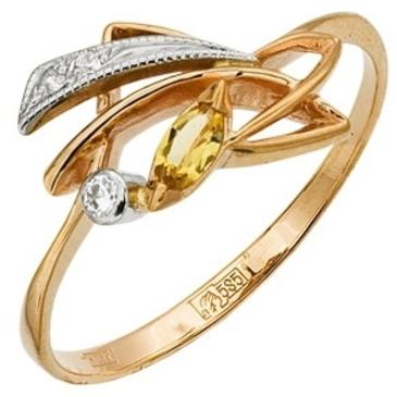 кольцо c кварцем из красного золота 1288264