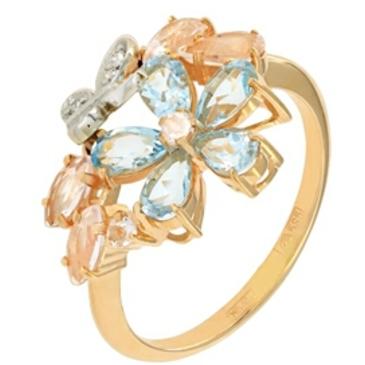 кольцо c кварцем из красного золота 12998065-3