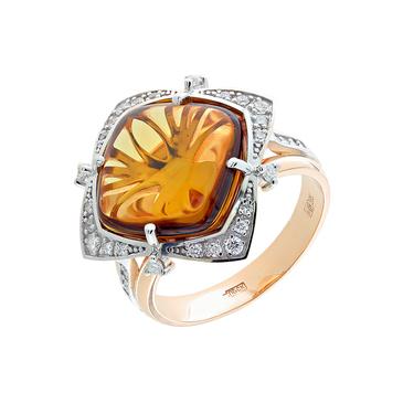 кольцо c кварцем из красного золота 12b39052