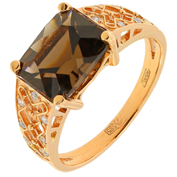 кольцо c кварцем из красного золота 11883240