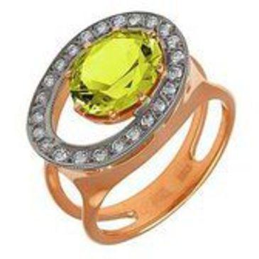 кольцо c кварцем из красного золота 12991577