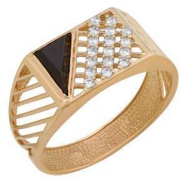 кольцо c ониксом из красного золота 1980005059Л