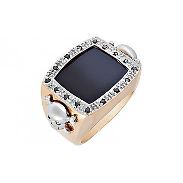 Кольцо с чёрным бриллиантом и ониксом из красного золота 68980