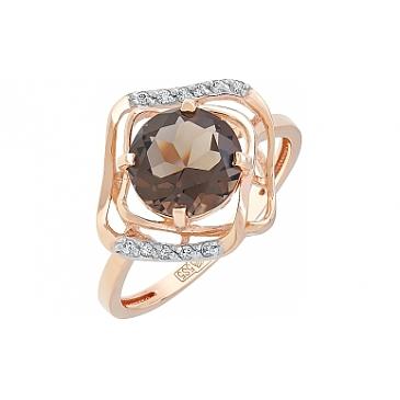 Кольцо с раухтопазом и фианитом из красного золота 113902 от EVORA