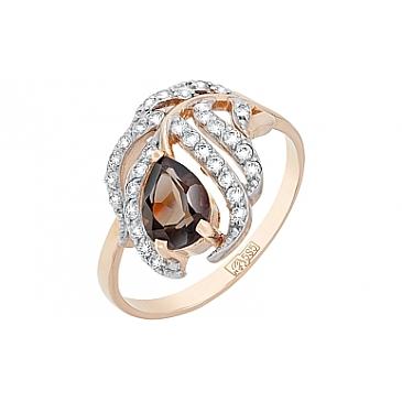 Кольцо с раухтопазом и фианитом из красного золота 117476 от EVORA