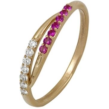 кольцо c рубинами и бриллиантами из красного золота 1980002052