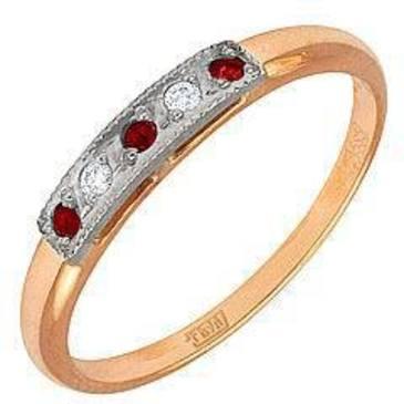 кольцо c рубинами из красного золота 1223243