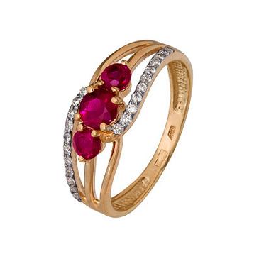 кольцо c рубинами из красного золота 1920202426