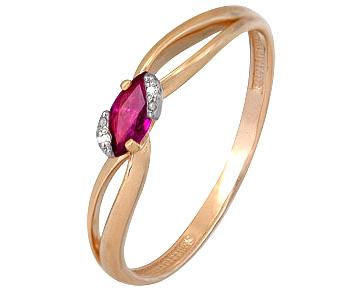 кольцо c рубином и 2 бриллиантами из красного золота 1920202276