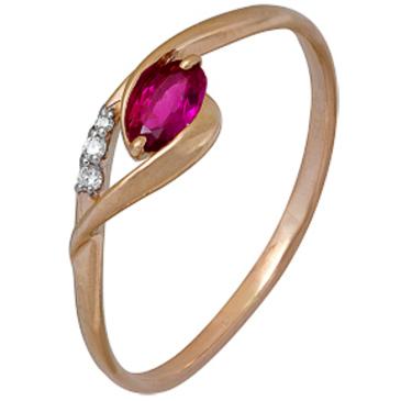 кольцо c рубином и 3 бриллиантами из красного золота 1920202286