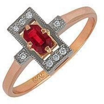 кольцо c рубином и бриллиантами из красного золота 12231619