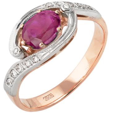 кольцо c рубином и бриллиантами из красного золота 12232943