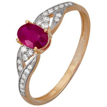 кольцо c рубином и бриллиантами из красного золота 1920202486