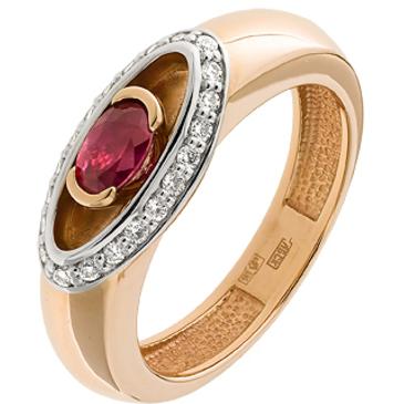кольцо c рубином и бриллиантами из красного золота 12237797
