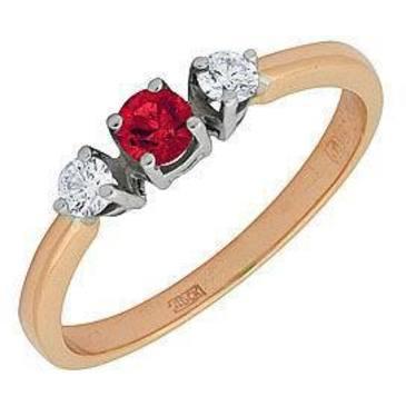 кольцо c рубином из красного золота 12231548