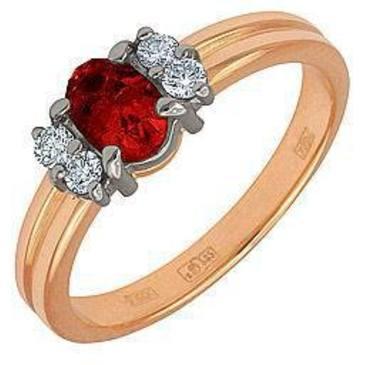кольцо c рубином из красного золота 12231074