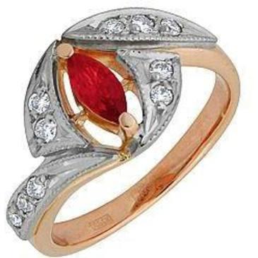 кольцо c рубином из красного золота 12231759
