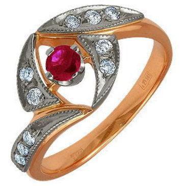 кольцо c рубином из красного золота 12231760