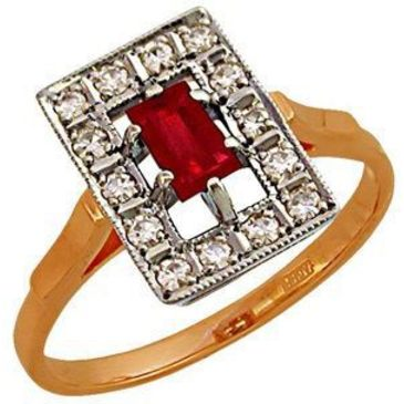 кольцо c рубином из красного золота 1223262