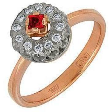 кольцо c рубином из красного золота 1223624