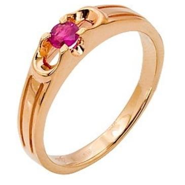 кольцо c рубином из красного золота 11201606