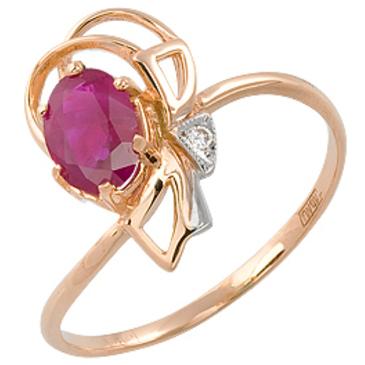 кольцо c рубином из красного золота 11231096