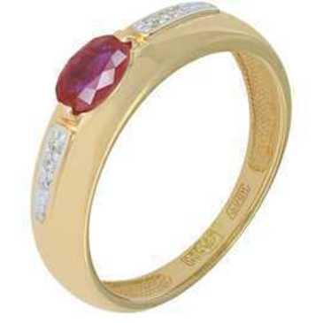 кольцо c рубином из красного золота 11238282