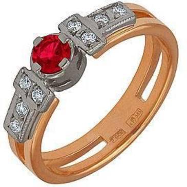 кольцо c рубином из красного золота 12231444