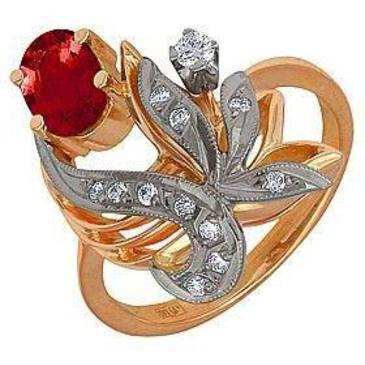 кольцо c рубином из красного золота 12231573