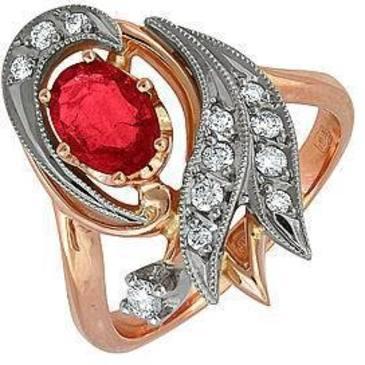 кольцо c рубином из красного золота 12231635
