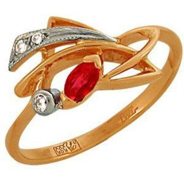 кольцо c рубином из красного золота 1223264