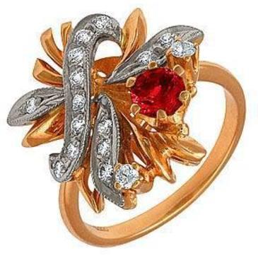 кольцо c рубином из красного золота 1223275