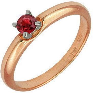кольцо c рубином из красного золота 12201559