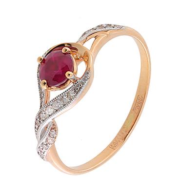 кольцо c рубином из красного золота 11234509