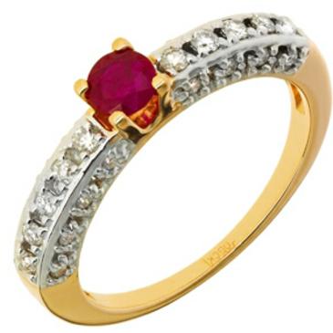 кольцо c рубином из красного золота 11238735