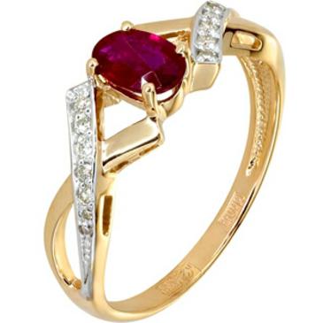 кольцо c рубином из красного золота 11234457