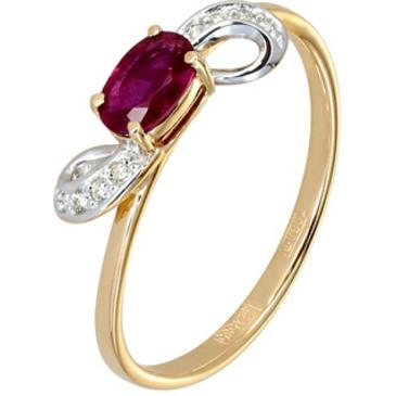 кольцо c рубином из красного золота 11234497