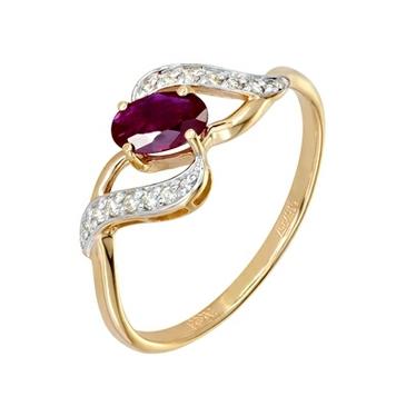 кольцо c рубином из красного золота 11234458