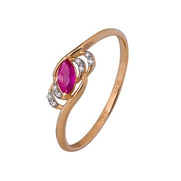 кольцо c рубином из красного золота 1920202468