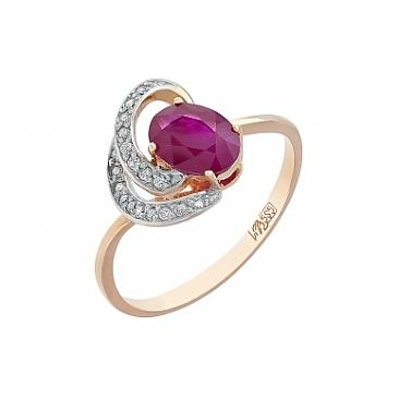 Кольцо с бриллиантом и рубином из красного золота 114787
