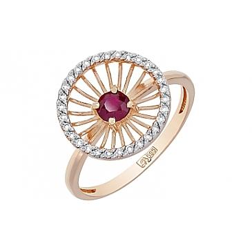 Кольцо с бриллиантом и рубином из красного золота 117361