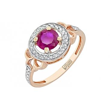 Кольцо с бриллиантом и рубином из красного золота 118182
