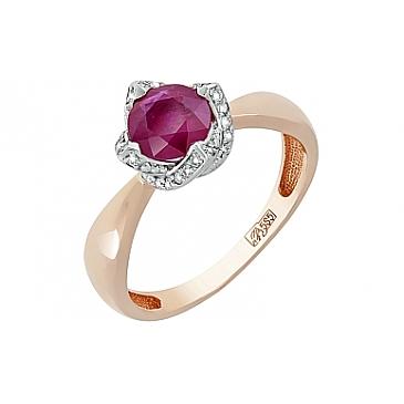 Кольцо с бриллиантом и рубином из красного золота 119066
