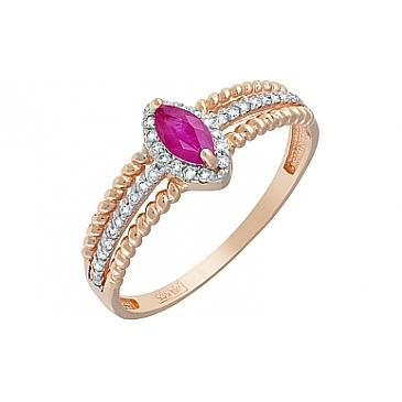 Кольцо с бриллиантом и рубином из красного золота 119121