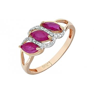 Кольцо с бриллиантом и рубином из красного золота 120377